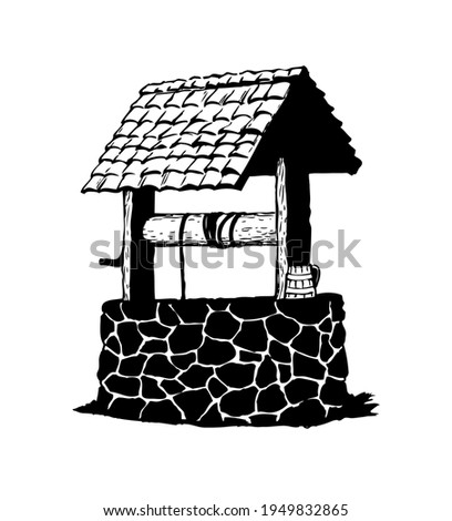 Ancient well. Vector drawing icon Stock photo ©