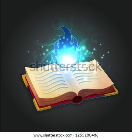 ancient wizard's open book with
