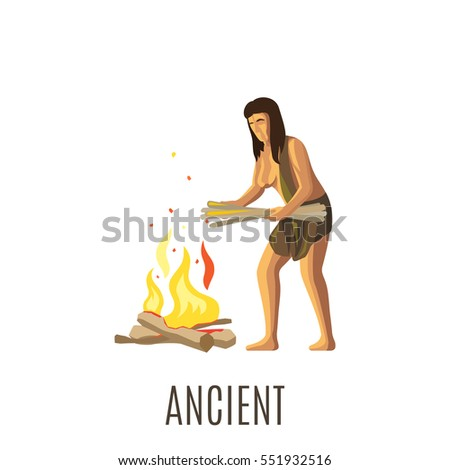 ancient woman making fire