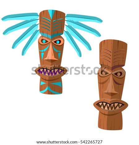 ancient wooden totem with blue...