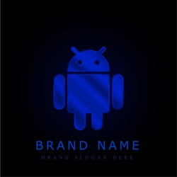 Android blue chromium metallic logo