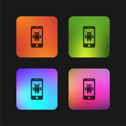 Android device four color gradient app icon design