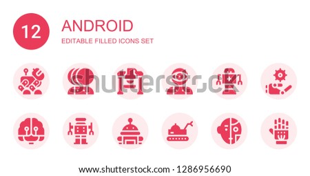 android icon set. Collection of 12 filled android icons included Robot, Artificial intelligence, Exoskeleton