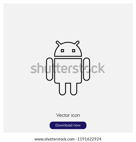 Android logo sign icon in trendy flat style isolated on grey background, modern symbol vector illustration for web
