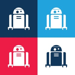 Android Robot blue and red four color minimal icon set