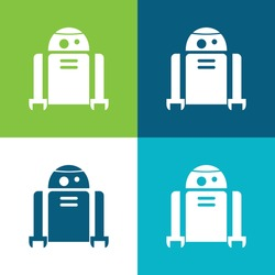 Android Robot Flat four color minimal icon set