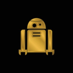 Android Robot gold plated metalic icon or logo vector