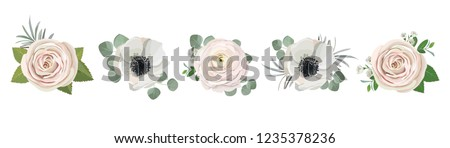 anemone ranunculus eucalyptus rose peony flowers and eucalyptus branches bouquet vector illustration, hand drawn floral elements set for greeting cards, wedding invitations. #1235378236