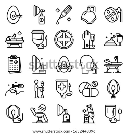 Anesthesia icons set. Outline set of anesthesia vector icons for web design isolated on white background Stock foto ©