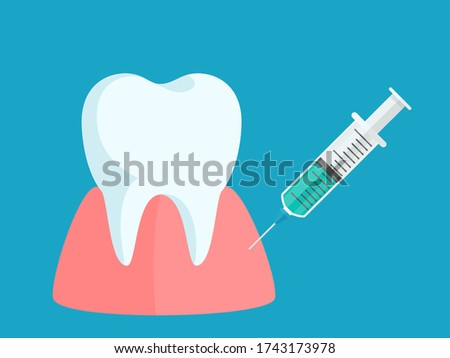 Anesthetic injection in the gum, anesthesia for the treatment of the tooth. Dental care, painkiller medication. Medical vector illustration, flat design, cartoon style, isolated background. ストックフォト ©