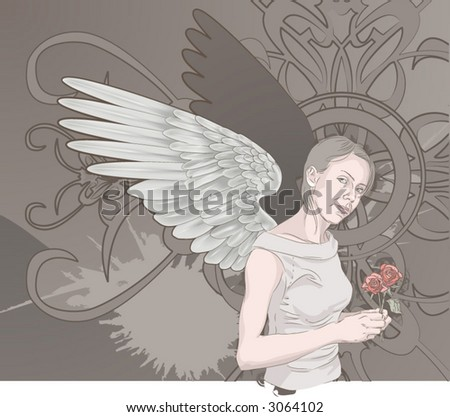 Angel. A beautiful winged woman holding roses on a grunge background. Layers used for easy editing