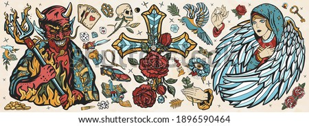 Angel and demon. Old school tattoo vector collection. Good and evil set. Terrible satan with pitchforks and holy nun. Cross with roses, hands prayer, dove. Sin and holiness. Paradise and Hell art