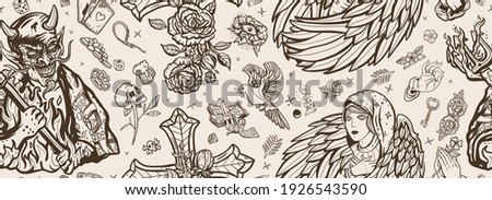 Angel and demon seamless pattern. Good and evil. Cross with roses, hands prayer, dove. Sin and holiness. Paradise and Hell art. Terrible satan with pitchforks and holy nun. Old school tattoo style