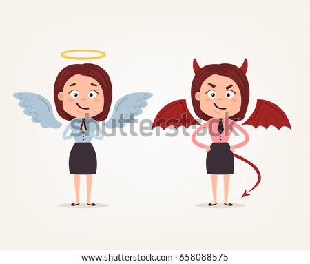angel and devil business woman
