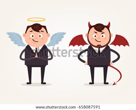 angel and devil businessman