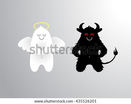 angel and devil flat cartoon