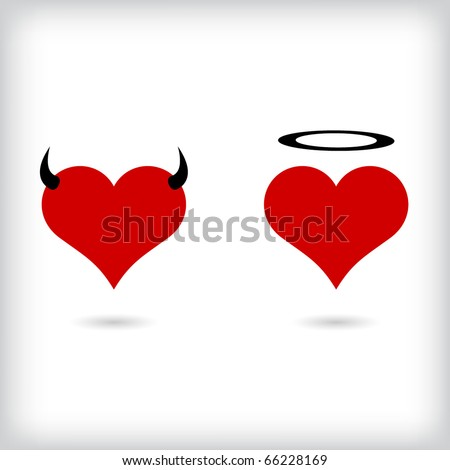 Angel and Devil hearts. Vector.