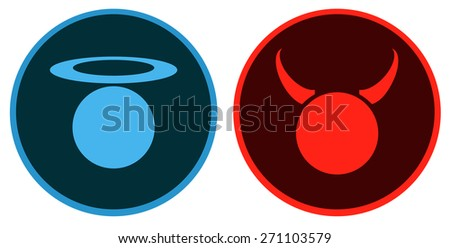 angel and devil round signs