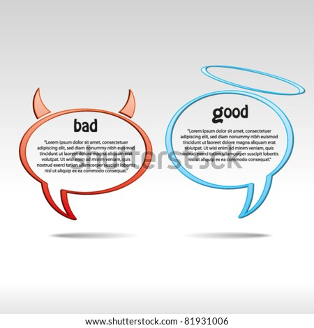 angel and devil speech bubbles