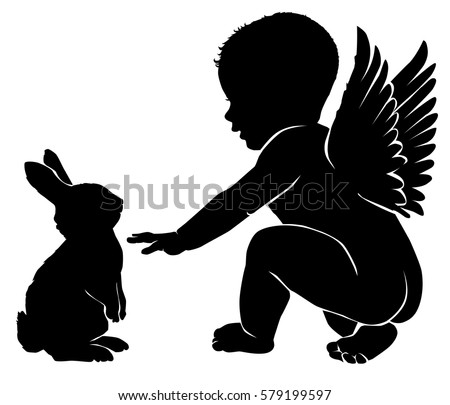 angel baby with easter bunny