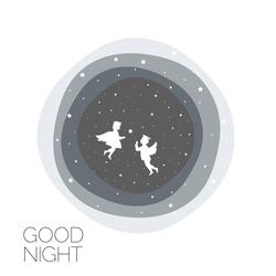 Angel boy and girl. Concept idea. Christmas time. Good night. Vector illustration.EPS 8