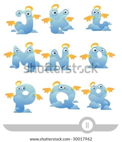 angel cartoon letters j-r - stock vector