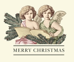 Angel cherub boy baby child tree spruce realistic. Prayer Happy New Year Merry Christmas Easter wedding. Winter background. Greeting card retro frame. Drawing engraving. Vector victorian Illustration