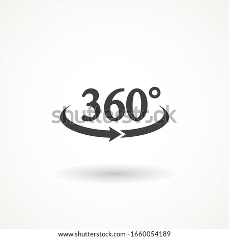Angel 360 degree icon Geometry math symbol. Full rotatio isolated on white background. Simple logo vector illustration Sign with arrow to indicate the rotation or panorama to 360 degrees.
