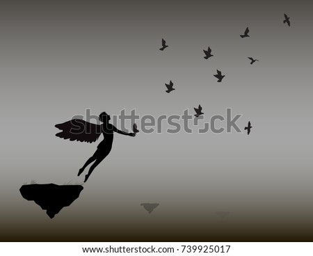angel flies with the flock of