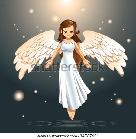 angel flying - stock vector