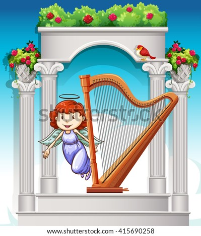 angel flying around harp in