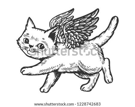 angel flying kitten engraving