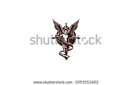 angel flying with sword logo