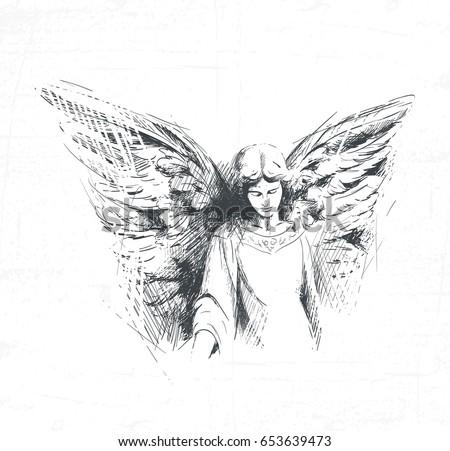 angel girl looks down