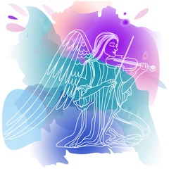 angel girl playing the violin. line drawing. vector watercolor background, green, pink and purple colors. vector illustration. EPS 10.