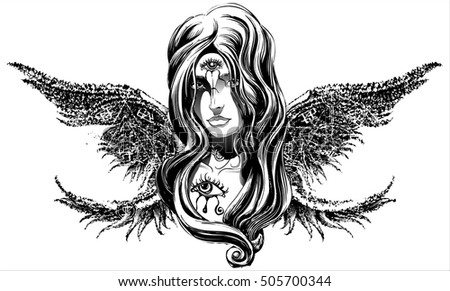 angel girl with long wings