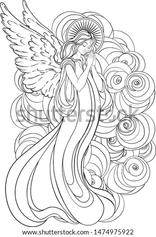 Angel girl with wings, cross, roses and halo. Isolated hand drawn vector illustration. Trendy Vintage style element. Spirituality, occultism, alchemy, magic.