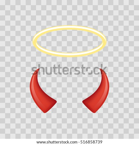 Angel halo and devil horns isolated on transparent checkered background. Vector illustration