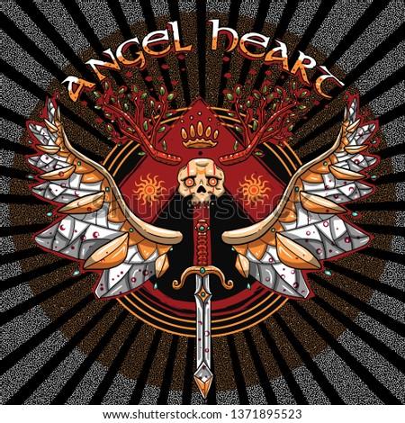 angel heart skull wings horns