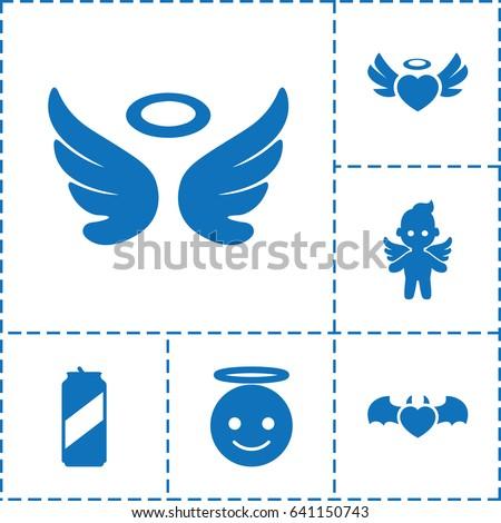 angel icon set of 6 angel