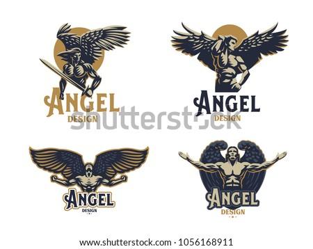 angel man set of vector