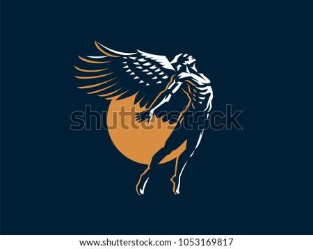 angel man vector emblem