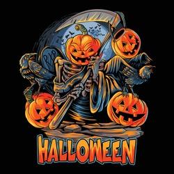angel of death halloween pumpkin head with crow looks scary