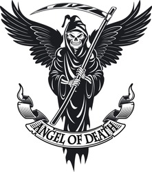 Angel of death with wings and scythe in  hands