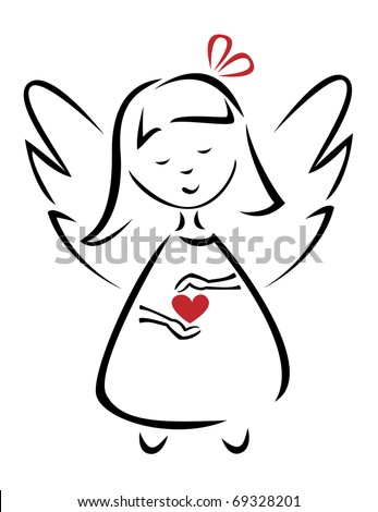 Angel of love (vector version) - stock vector