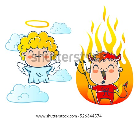 angel on cloud and devil with
