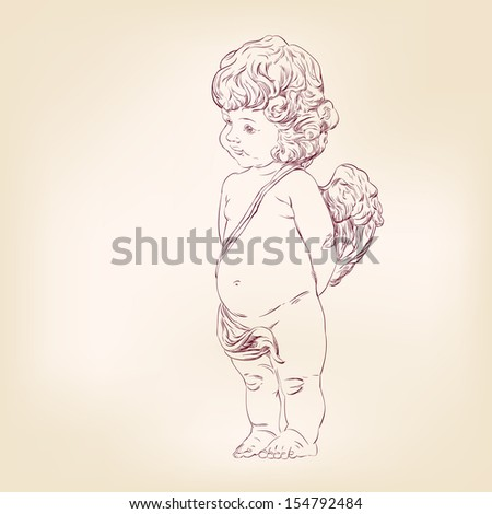 angel or cupid isolated hand drawn vector llustration