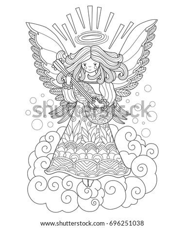angel playing guitar zentangle