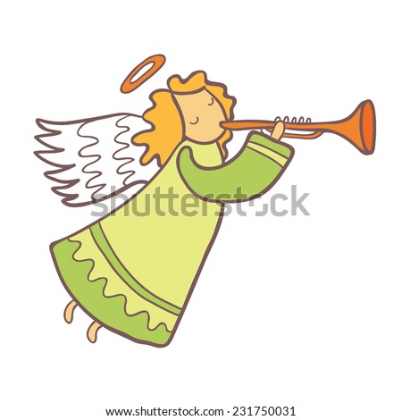 angel plays the trumpet