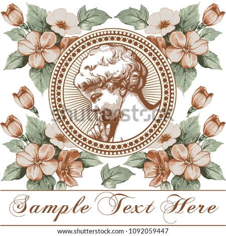 Angel Prayer Easter Boy baby child. Frame baroque. Drawing engraving. Vintage background realistic flowers. Wildflowers isolated. Greeting invitation thanks card. Vector victorian wedding Illustration